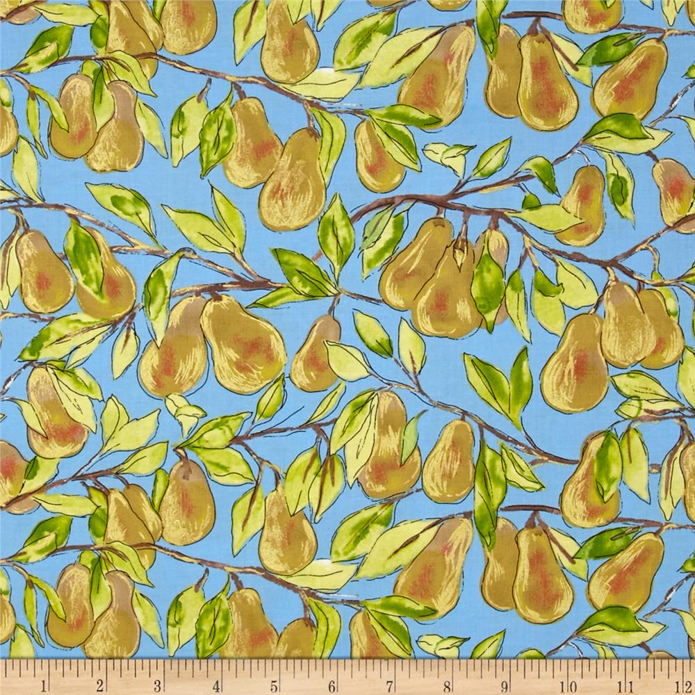 Michael Miller Valencia Pear Branch Sky Metallic