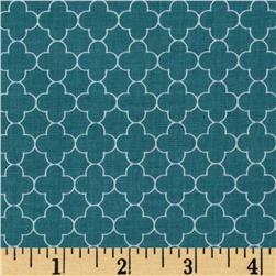 Riley Blake Mini Quatrefoil Teal Fabric