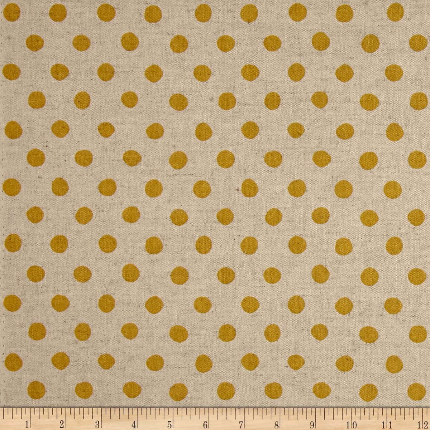 Kaufman Sevenberry Canvas Natural Dots Large Yellow Fabric by Kaufman in USA