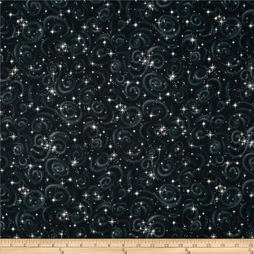 Stargazers star texture black metallic discount designer for Star design fabric