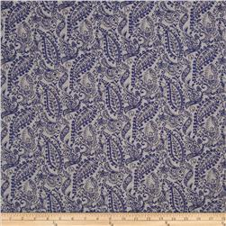 River Jacquard Stretch Denim Paisley Blue