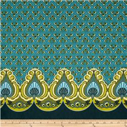 Feathers and Fancy Peacock Double Border Aqua