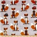 Shannon Minky Cuddle Prints Nifty Fox Steel