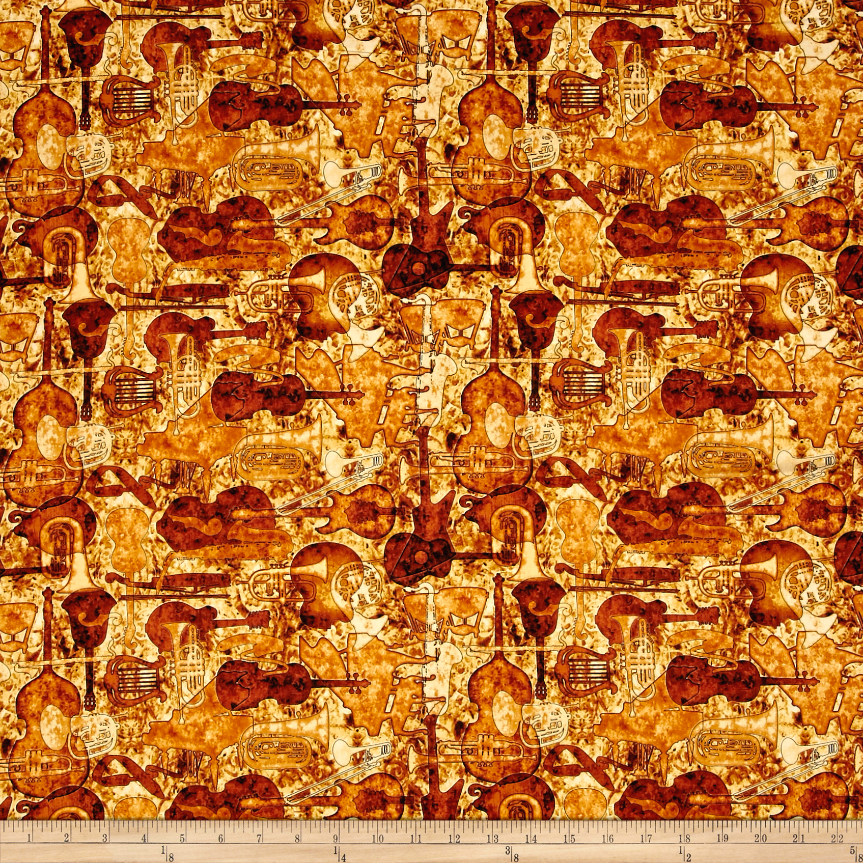 Encore Instruments Silhouettes Rust Fabric by Quilting Treasures in USA