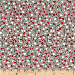 Moda Jingle Birds Berries Gray