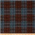 Wool Blend Coating Chunky Plaid Rust/Green