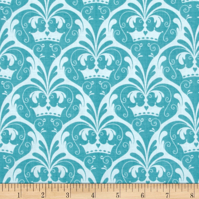 Riley Blake Dream and a Wish Damask Blue Fabric by Christensen in USA