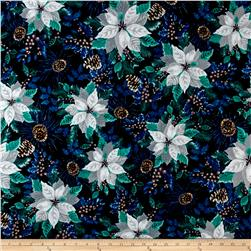 Winter Wonderland Flannel Poinsettia Midnight