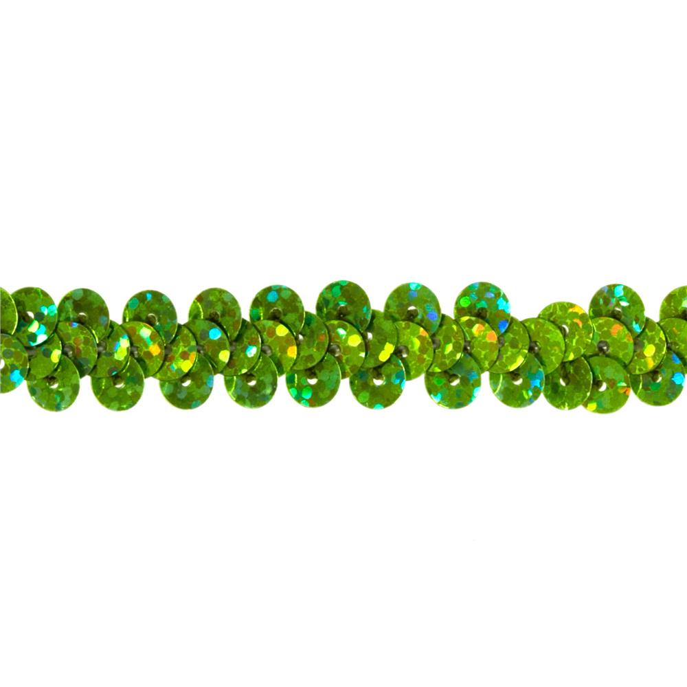 "3/8"" Hologram Stretch Sequin Trim Lime"