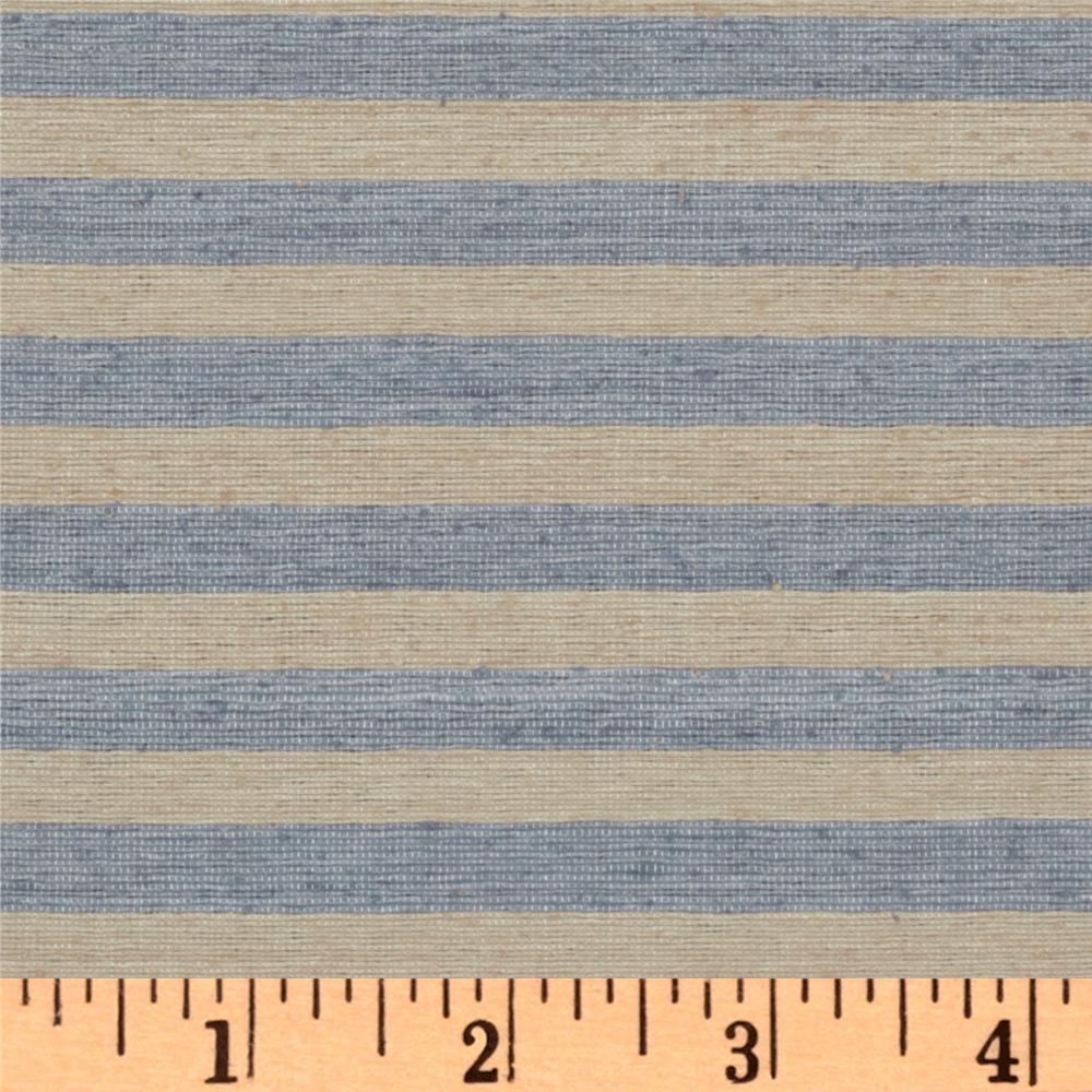 Uptown Raw Silk Suiting Stripes Sand/Blue