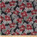 Pear Tree Greetings Metallic Poinsettia/Paisley Black/Silver