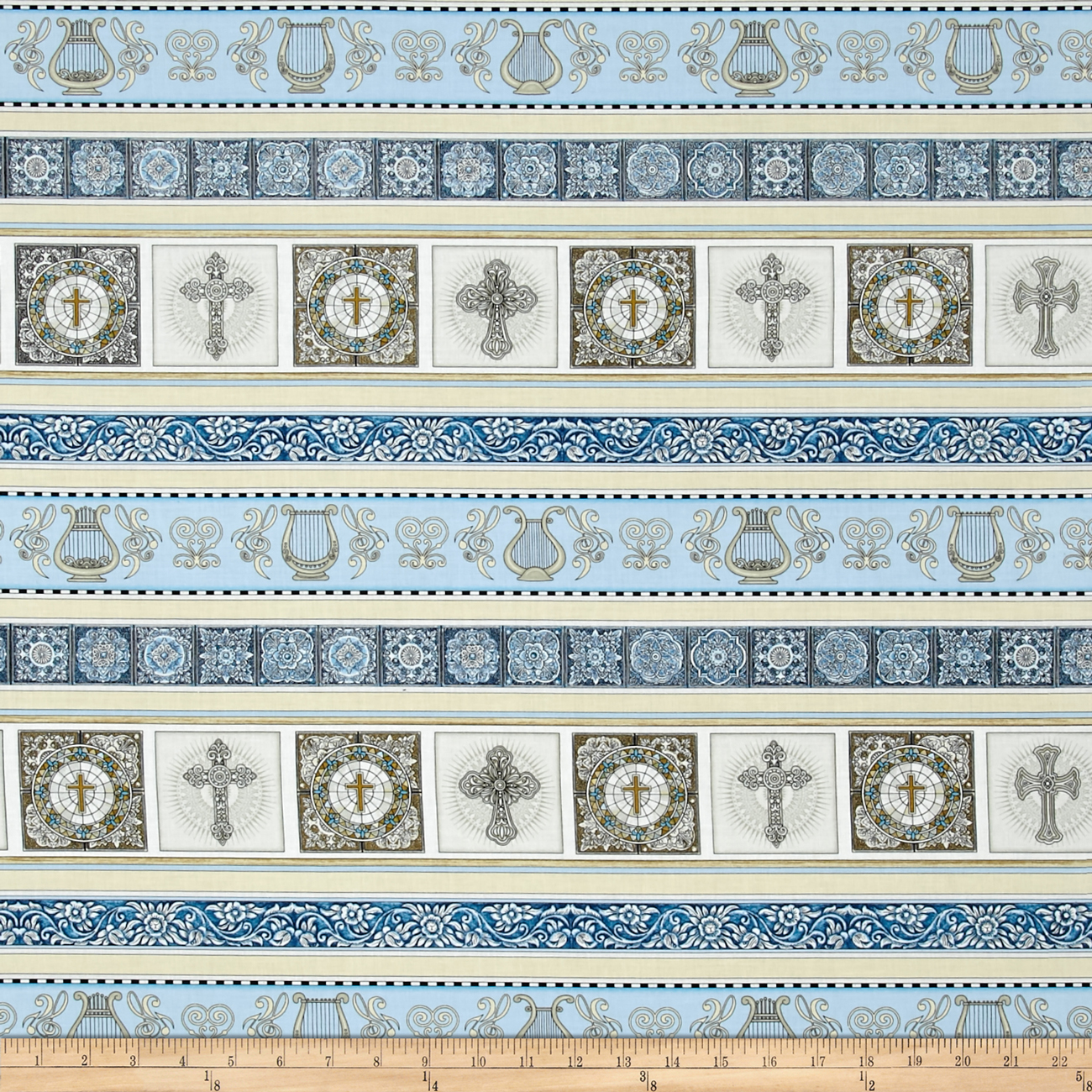 Heavenly Heavenly Decorative Stripe Light Blue Fabric by Quilting Treasures in USA