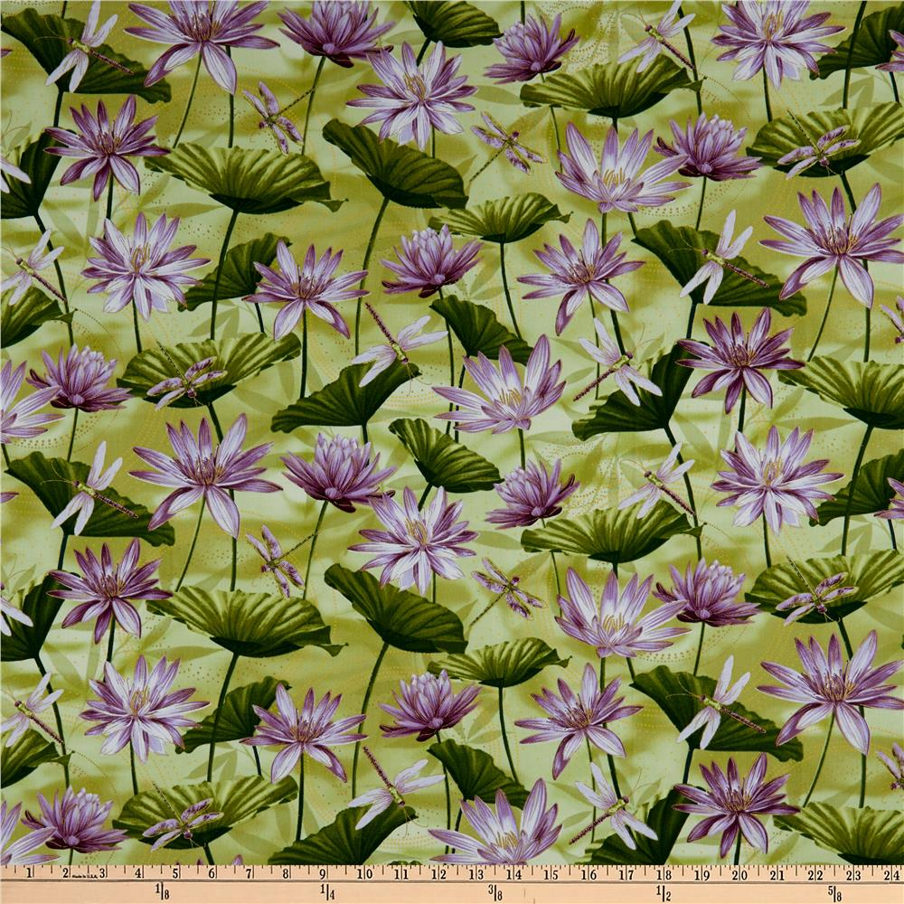 Kanvas Dance Of The Dragonfly Metallic Waterlily Pool Grass Green Fabric