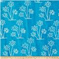 Indian Batik Large Palm Tree Aqua/White
