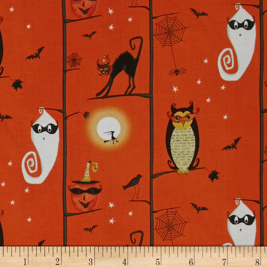 Cheeky Wee Pumpkins Owls/Cats In Trees Fabric Style 438210 by Studio E in USA
