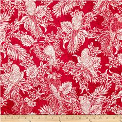 Kanvas Buried Treasure Tropical Bird Red Fabric