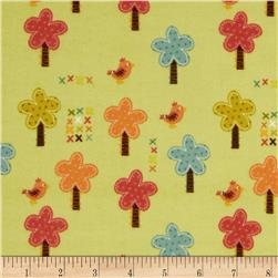 Riley Blake Giraffe Crossing Flannel Giraffe Trees Green