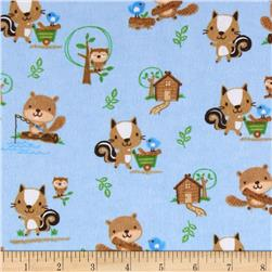 Comfy Flannel Woodland Critters Playing Blue Fabric