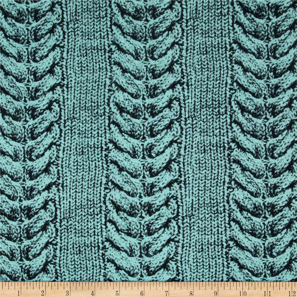 Jersey Knit Printed Cable Stitch Aqua