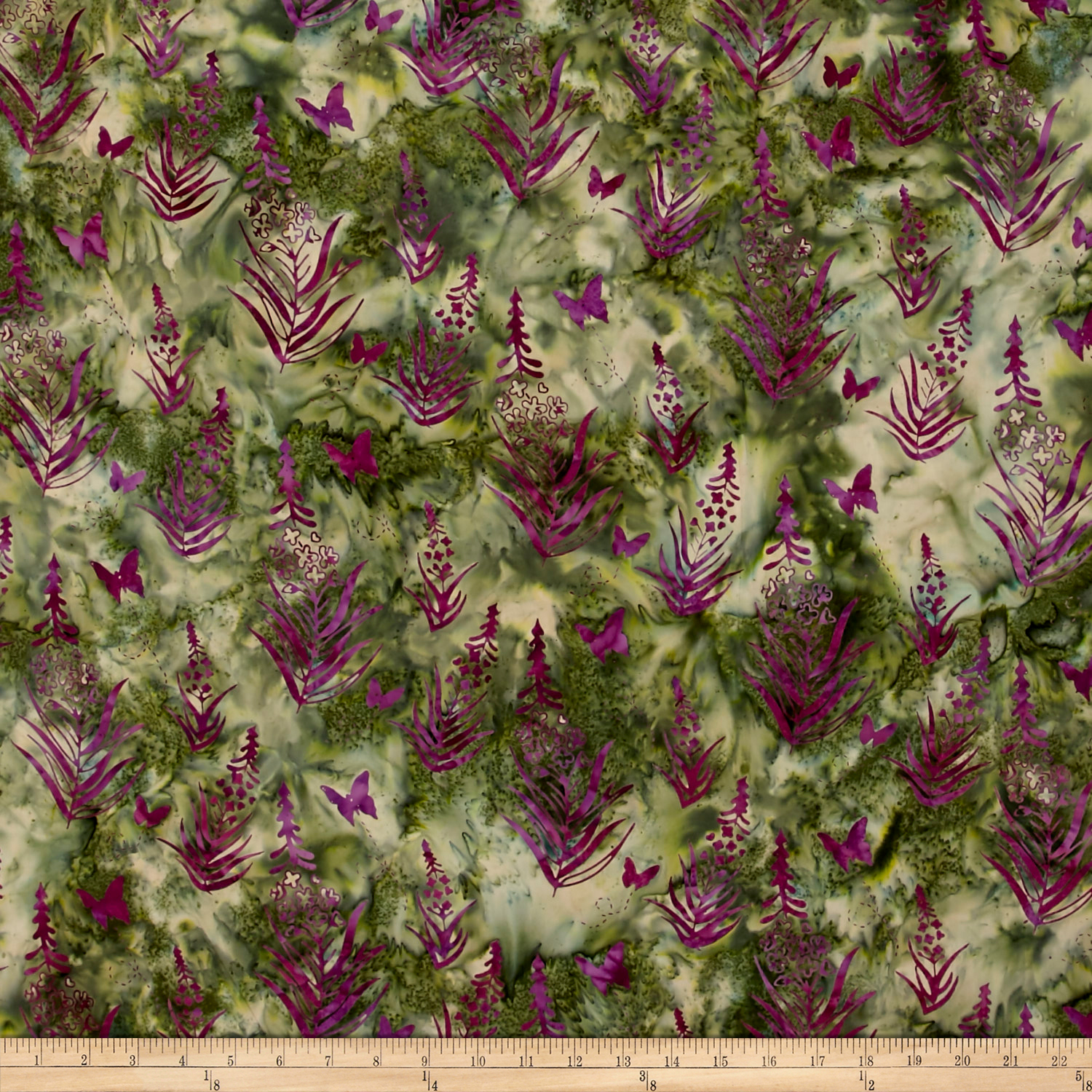 Bali Batiks Handpaint Fireweed Forest Fabric by Hoffman of California in USA