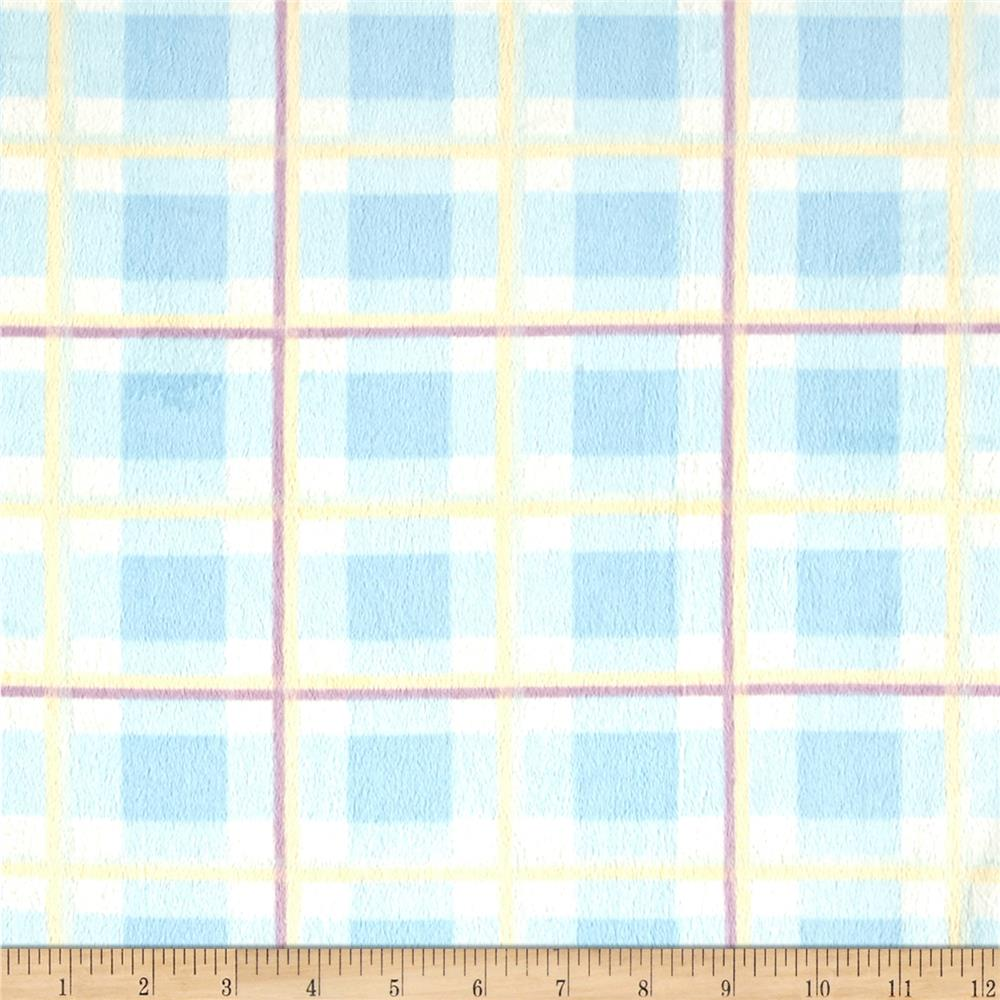 Shannon Minky Plaid Cuddle  Blue