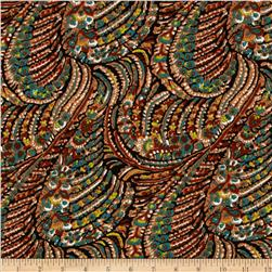 Brazil Stretch ITY Jersey Knit Abstract Tan/Multi