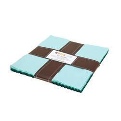 "Robert Kaufman Kona Solids Lush Lagoon 10"" Layer Cake"