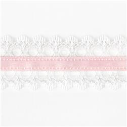 "1 1/2"" White Lace Satin Center Ribbon Pink"