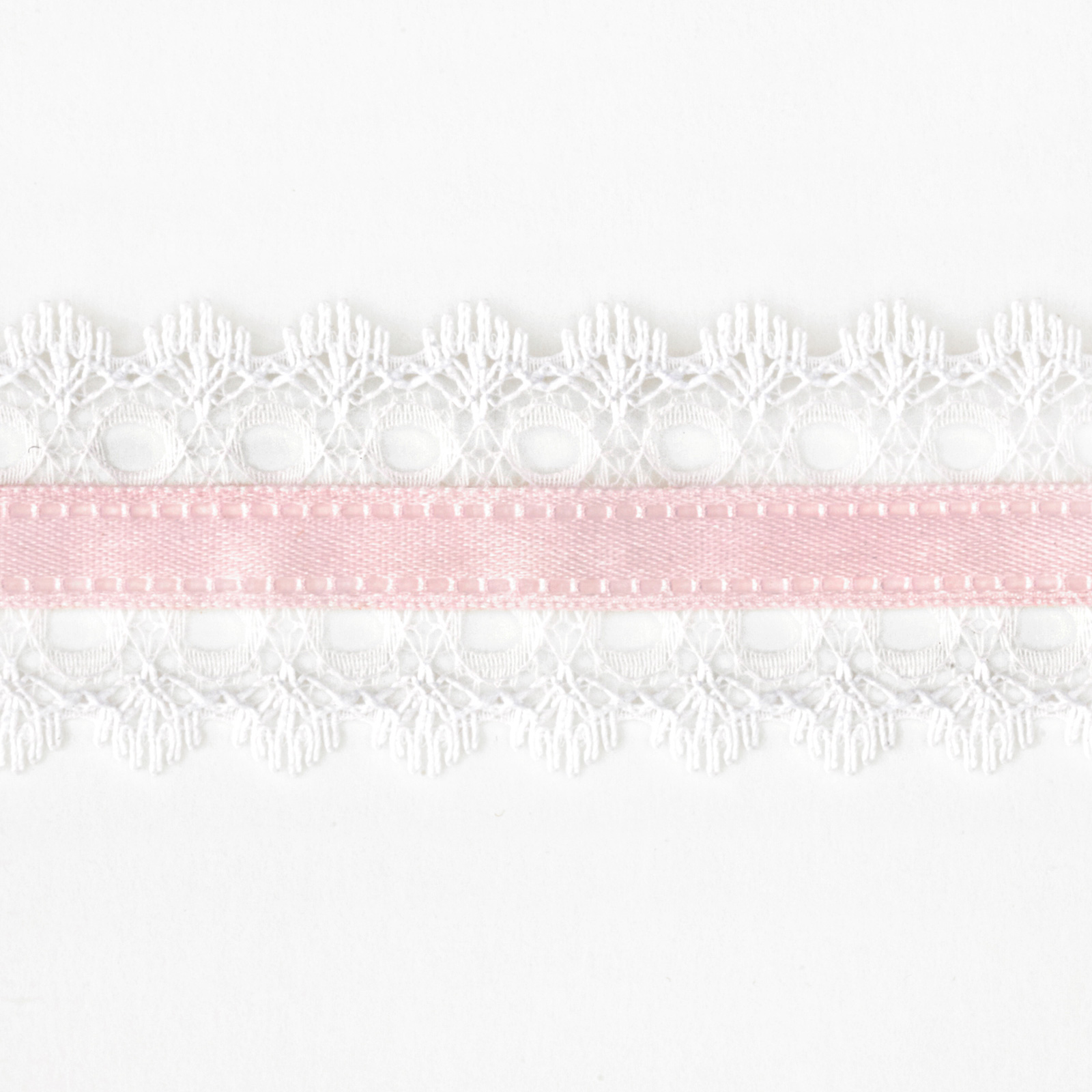 1 1/2'' White Lace Satin Center Ribbon Pink