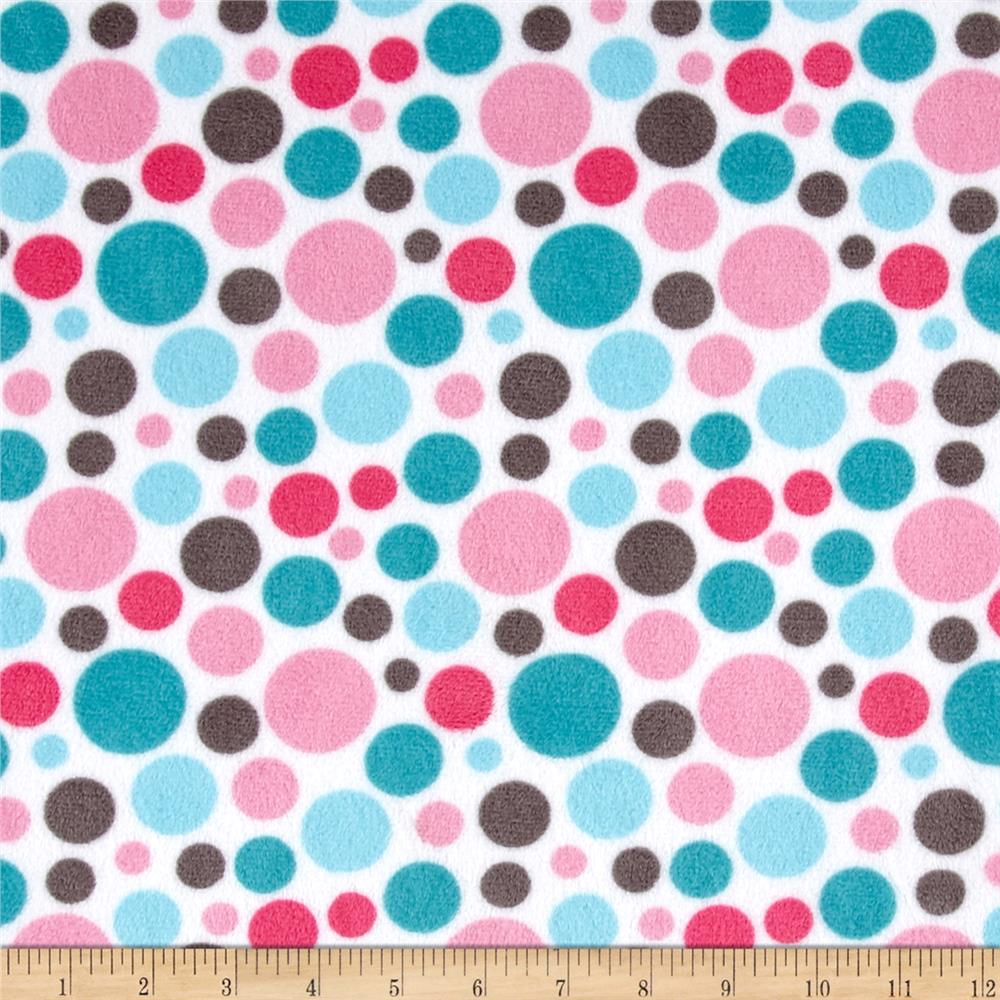 Shannon Minky Classic Bubble Dot Cuddle Hot Pink/Teal