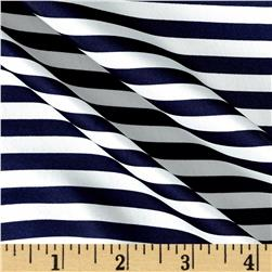 Charmeuse Satin Stripe Navy White