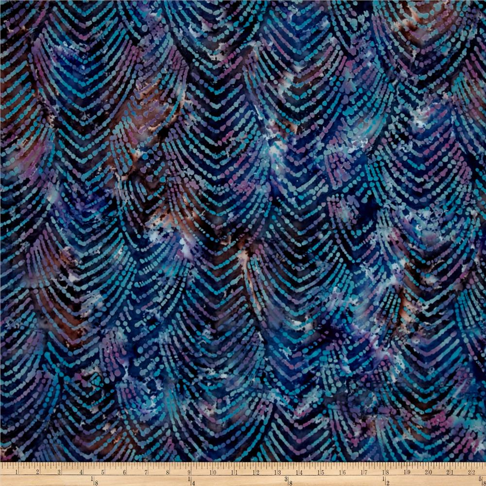 Indian Batik Gypsy Chevron Blue Multi