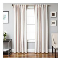 Sunbrella 84'' Rod Pocket Stripe Outdoor Panel Natural/Beige