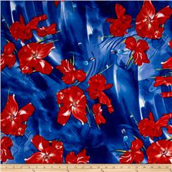 Liverpool Double Knit Floral Red/Blue