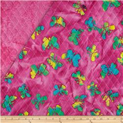 Indian Batik Double Sided Quilted Butterflies Fuchsia