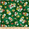 Seasons Greetings Snowmen Green