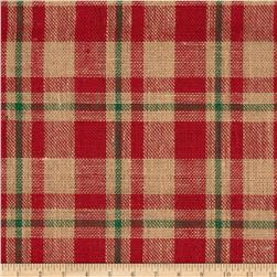 60'' Plaid Burlap Red