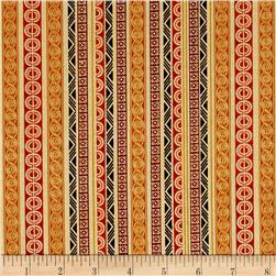 Tropical Travelogue Decorative Geometric Stripe Cream/Earthtones