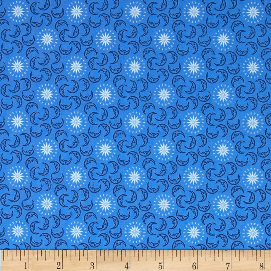 Celestial metallic mini moons blue navy discount for Celestial pattern fabric