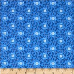 Celestial Metallic Mini Moons Blue/Navy Fabric