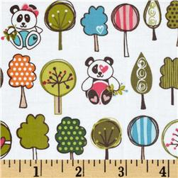 Sunny Happy Skies Laminated Cotton Panda White