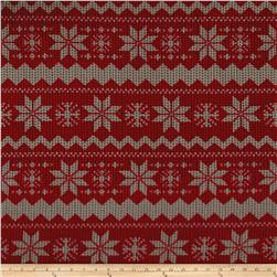 Polar Fleece Winter Chevron Red/Brown