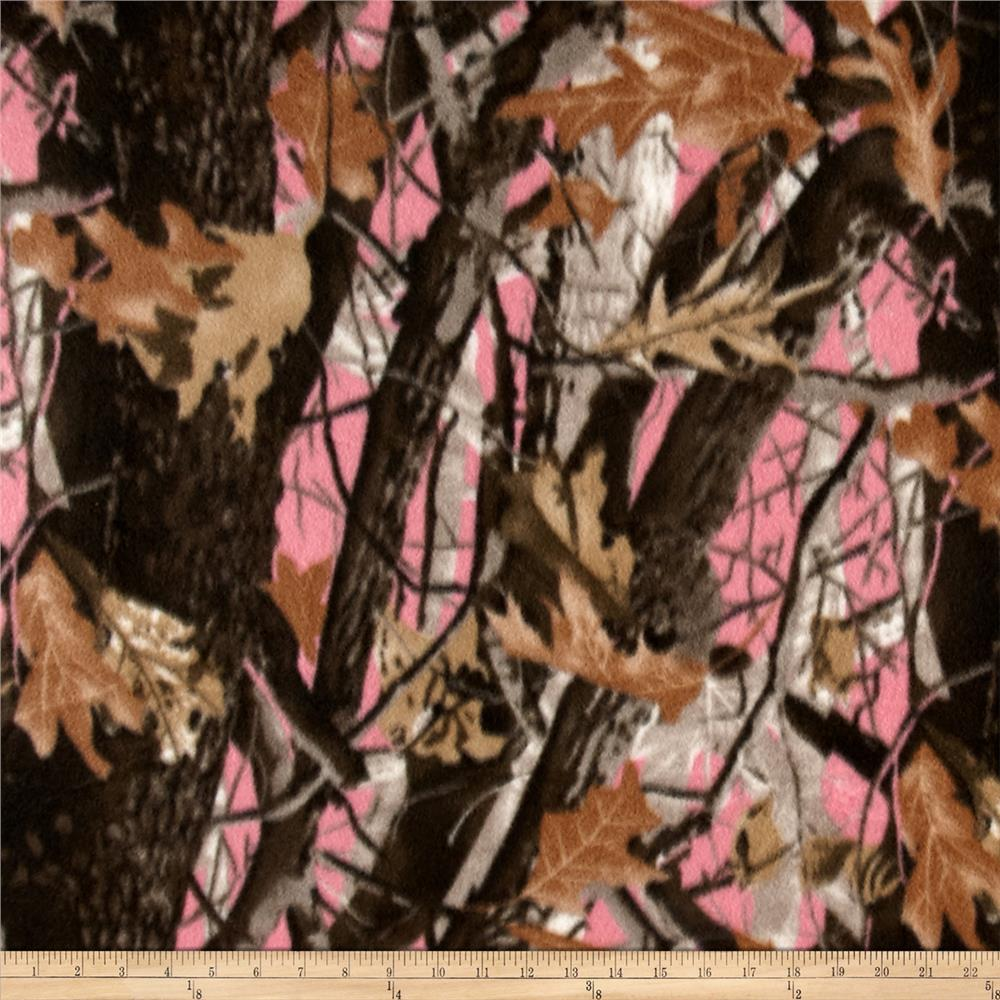 Polar Fleece Print Deepwoods Pink Fabric