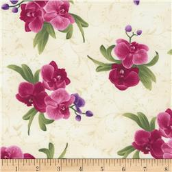 Timeless Treasures Wild Orchid Spaced Orchid Bouquets Cream