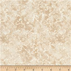 "Essentials 108"" Wide Back Flannel Filigree Light Tan"