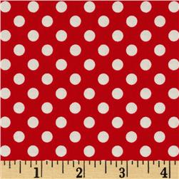 Riley Blake Le Creme Basics Small Dots Red/Cream