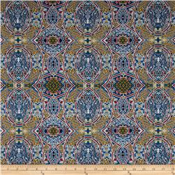 Morocco Blues Stretch Cotton Shirting Mosaic Print Multi