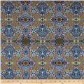 Telio Morocco Blues Stretch Cotton Shirting Mosaic Print Multi