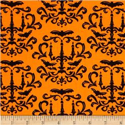 Moda Moonlight Manor Halloween Damask Pumpkin Orange