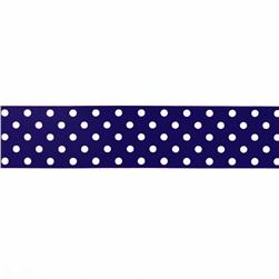 "1.5"" Grosgrain Polka Dots Navy/White"